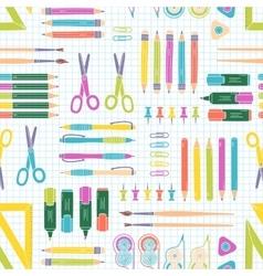 Seamless stationery pattern school vector