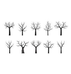set black trees outline vector image