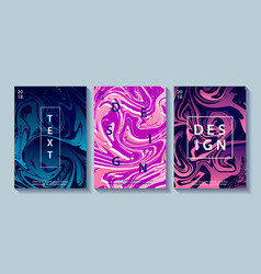 Set of creative design posters with marbling vector