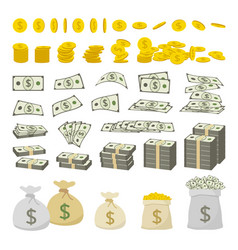 set of dollar sign money and gold coins vector image