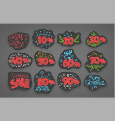 set of season discount shopping stickers vector image