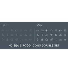 Set of Thin and Bold Sea Food Elements and Sea vector