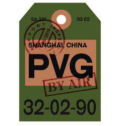 Shanghai airline tag vector