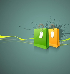 Shopping paper bag green and yellow vector image