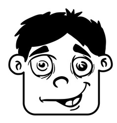 simple black and white smiling boy head cartoon vector image