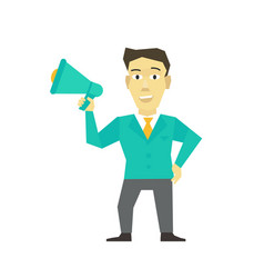 speaker man with horn megaphone loudspeaker vector image