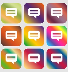 Speech bubble Chat think icon Nine buttons with vector