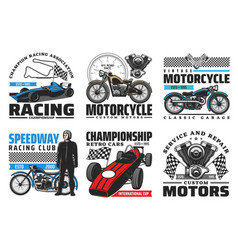Speedway motorcycle bike races retro cars racing vector