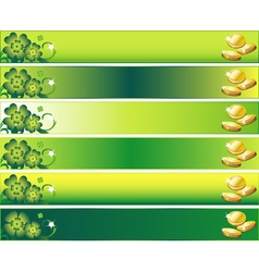 St Patricks Day Banner Set with Leafs and Money vector image