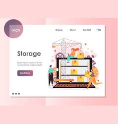 Storage website landing page design vector