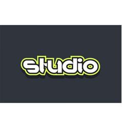 studio word text logo design green blue white vector image