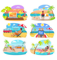 Summer freelance distant work colorful posters set vector