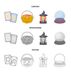 tarot cards holiday halloween magician in a hat vector image