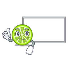 Thumbs up with board green lemon slices in cartoon vector