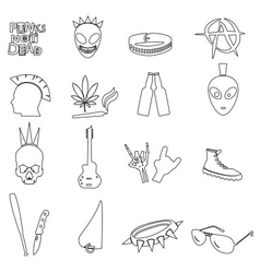 Various black punk outline icons set eps10 vector