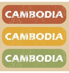 Vintage Cambodia stamp set vector