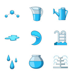 Water supply icons set cartoon style vector