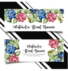 watercolor floral banner template design vector image