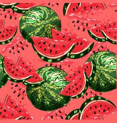 Watermelon seamless pattern hand-drawn juicy vector