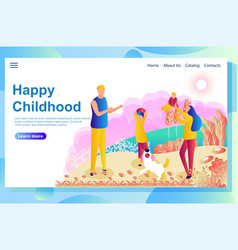 web page design template shows happy couple vector image
