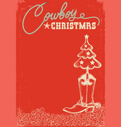 western red christmas card with cowboy boot and vector image
