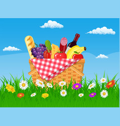 Wicker picnic basket full of products vector