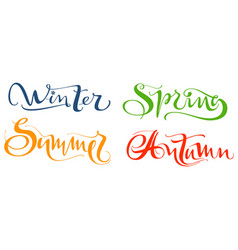 winter spring summer autumn set hand written vector image
