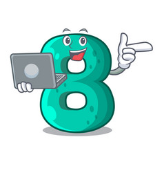 with laptop raster version cartoon shaped number vector image