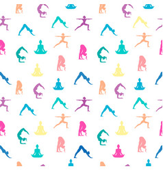 Women in yoga pose seamless pattern background vector