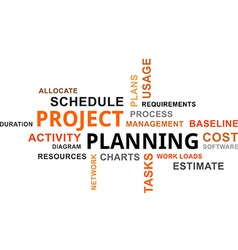 word cloud project planning vector image