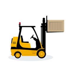 yellow forklift lifted the box up vector image