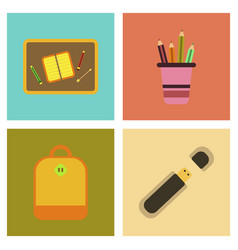 Assembly flat icons school bag usb pencil table vector