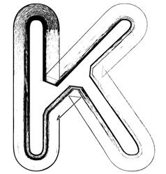 Grunge Font letter K vector image vector image