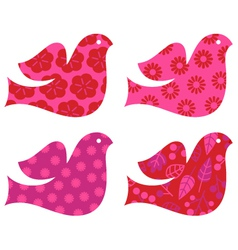 Retro floral Valentines dove set isolated on white vector image vector image