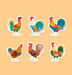 roosters stickers set vector image