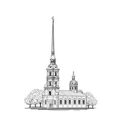 saint-petersburg city st peter paul cathedral vector image