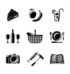 Set of monochrome picnic icons - basket plate vector image vector image