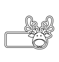 silhouette banner with face reindeer christmas vector image vector image