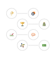 Flat icons coin design championship and other vector