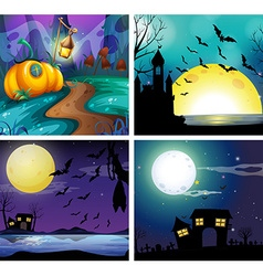Four night scenes with fullmoon vector image vector image