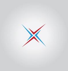 letter x shape logo vector image vector image