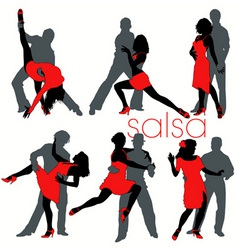 salsa dancers set vector image vector image