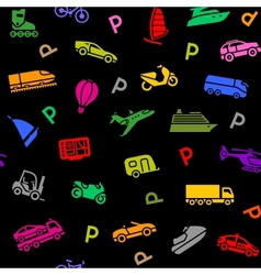 Seamless background transport colored icons vector image vector image