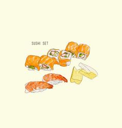 Set of sushi japanese food hand drawn water vector