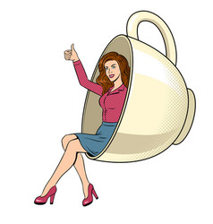 beauty young woman in coffee cup pop art vector image vector image