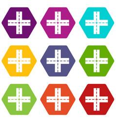 crossing road icon set color hexahedron vector image