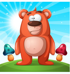 cute funny bear character - landscape vector image vector image
