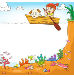 frame design with girl and her dog on boat vector image vector image
