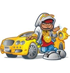 Pimp Gangsta With Car vector image