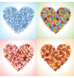 Season hearts vector image vector image